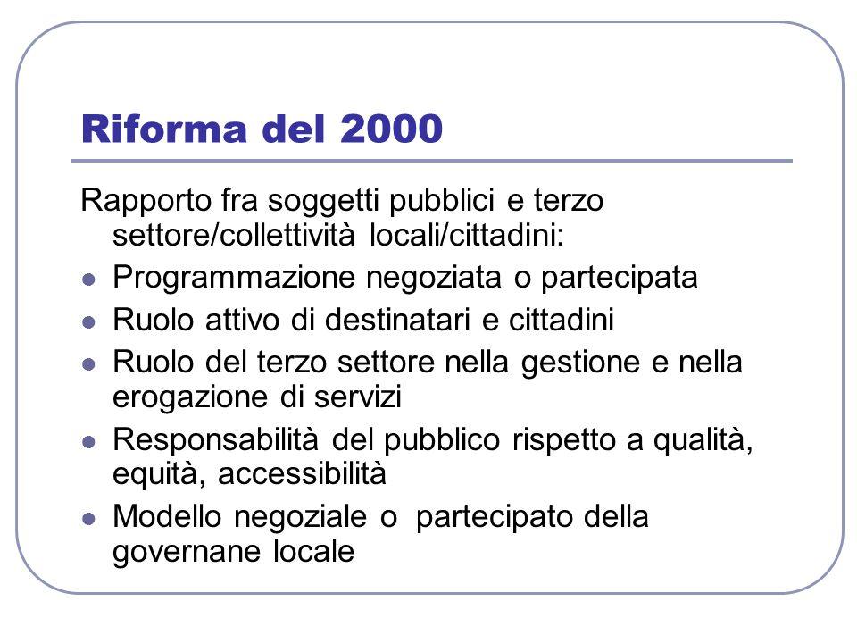 Riforma del 2000 Rapporto fra soggetti pubblici e terzo settore/collettività locali/cittadini: Programmazione negoziata o partecipata.