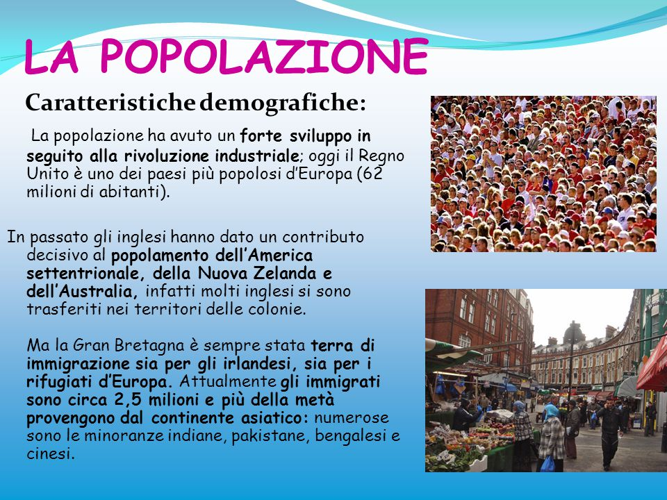 LA POPOLAZIONE Caratteristiche demografiche: