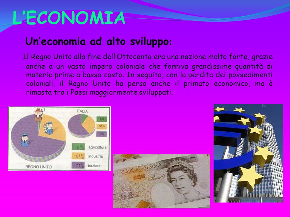L'ECONOMIA Un'economia ad alto sviluppo: