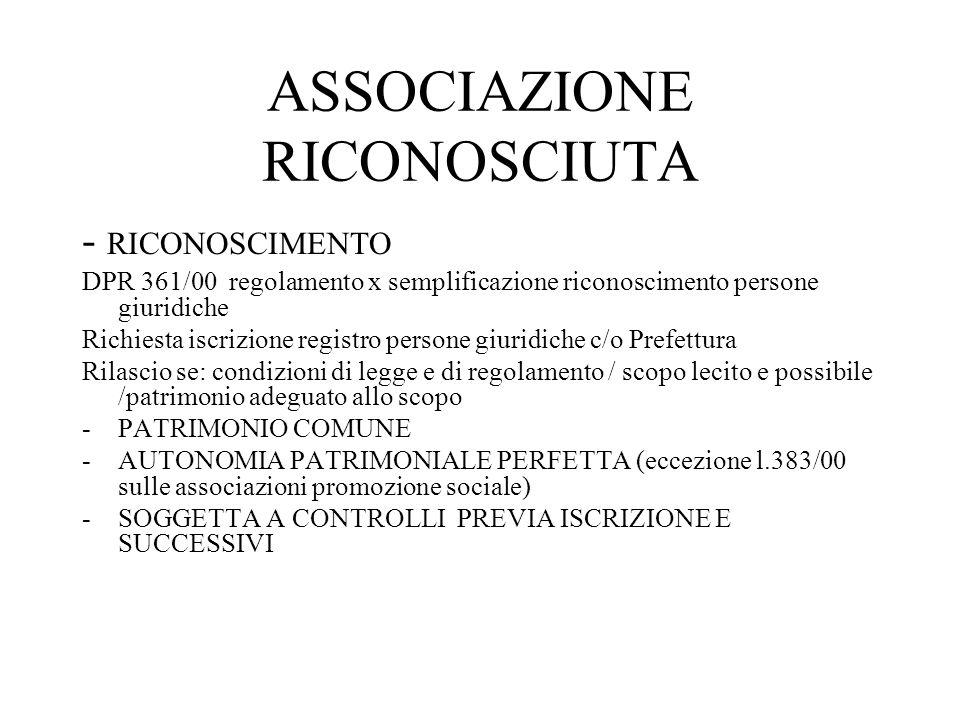 ASSOCIAZIONE RICONOSCIUTA