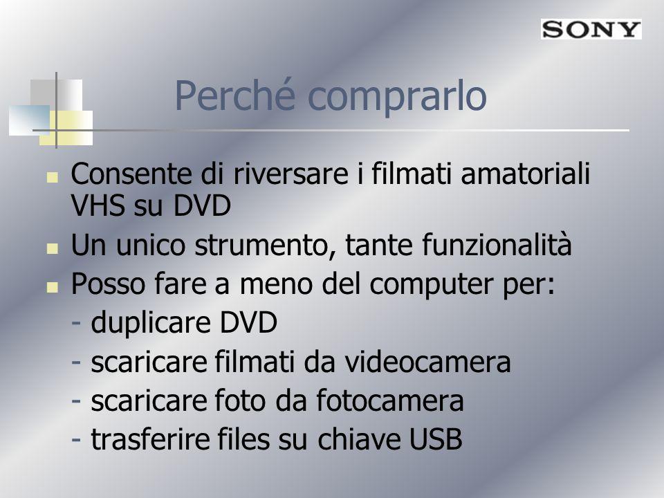 Perché comprarlo Consente di riversare i filmati amatoriali VHS su DVD