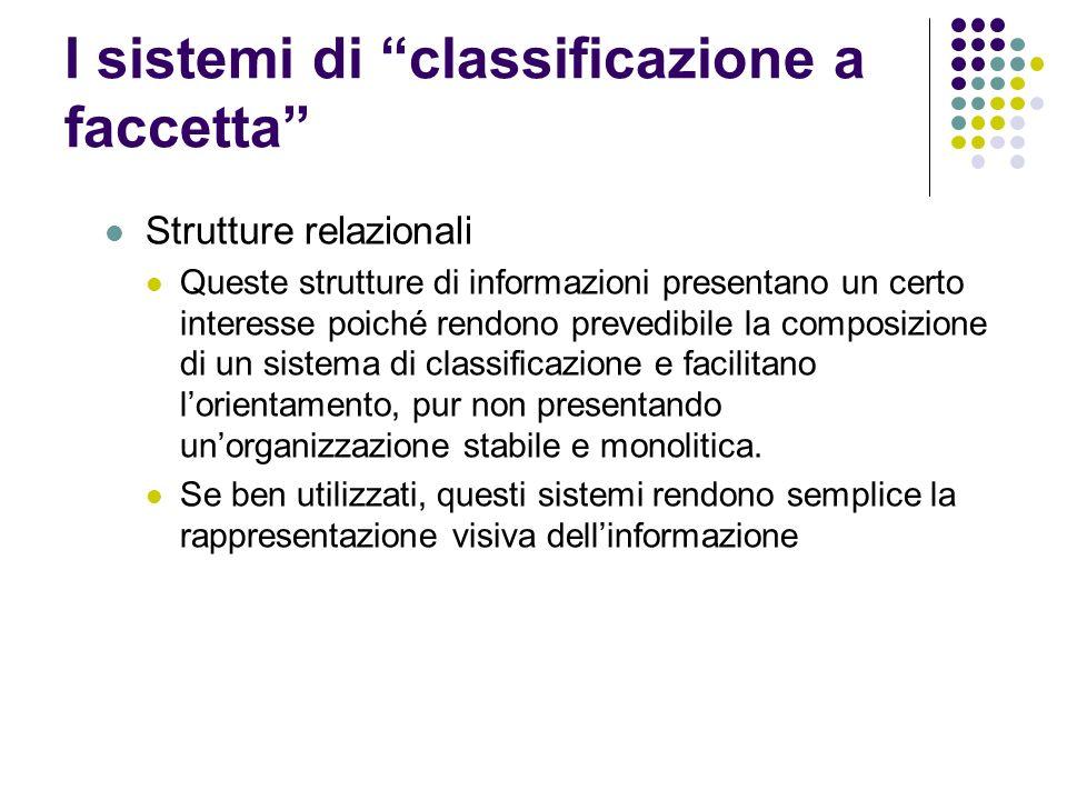I sistemi di classificazione a faccetta
