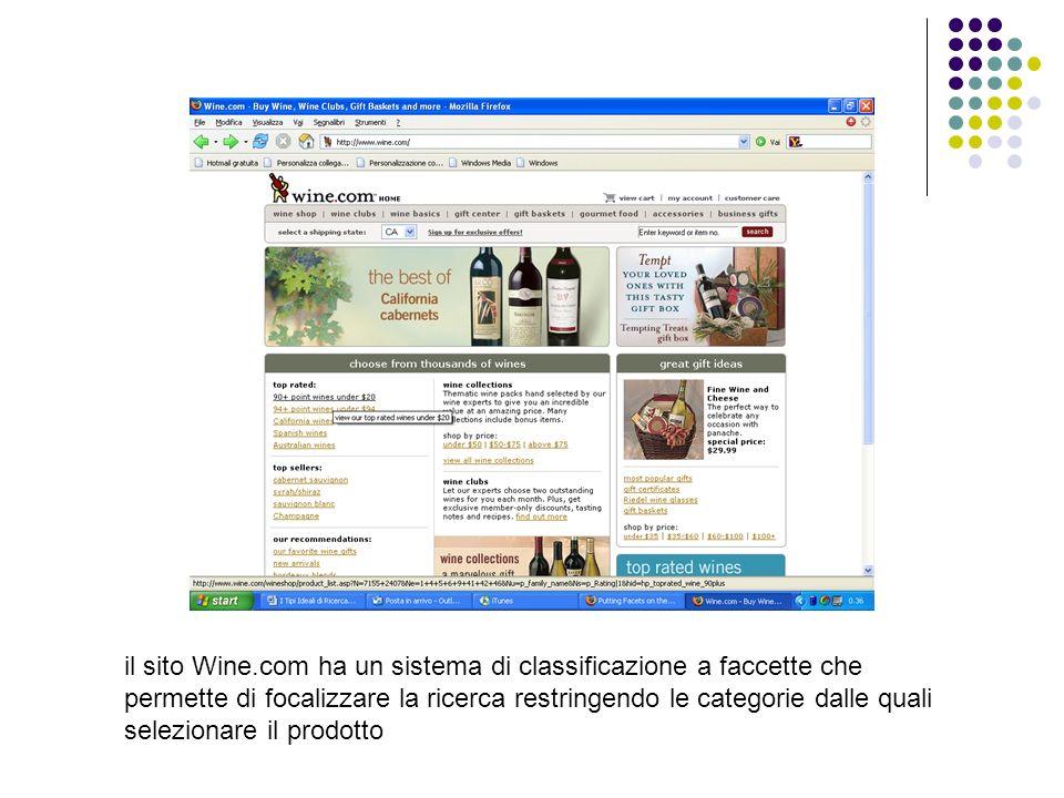 il sito Wine.com ha un sistema di classificazione a faccette che permette di focalizzare la ricerca restringendo le categorie dalle quali selezionare il prodotto