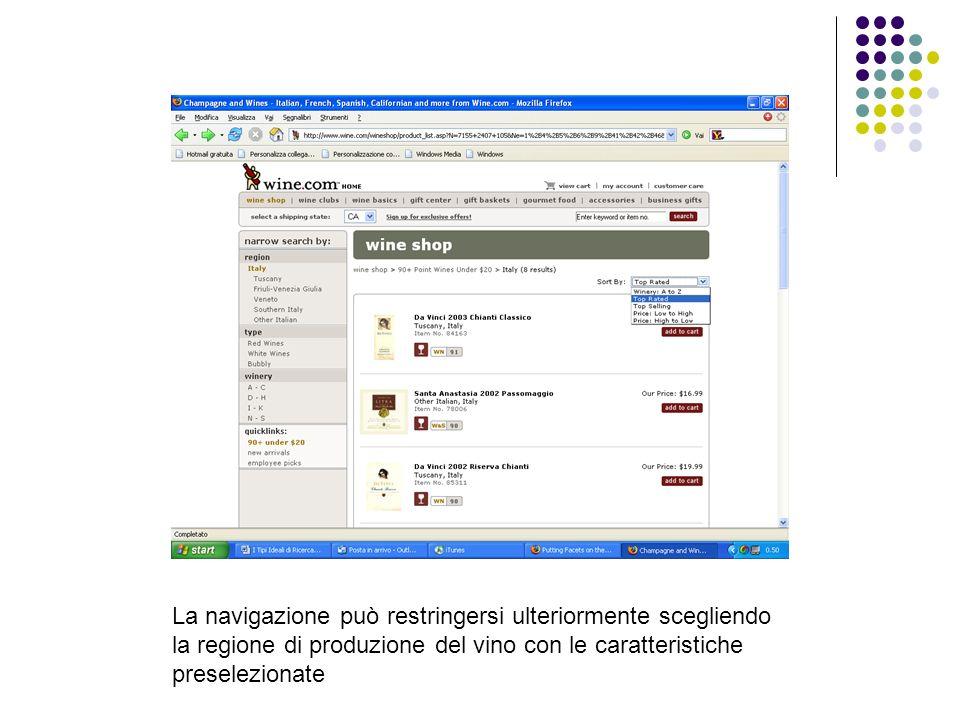 La navigazione può restringersi ulteriormente scegliendo la regione di produzione del vino con le caratteristiche preselezionate