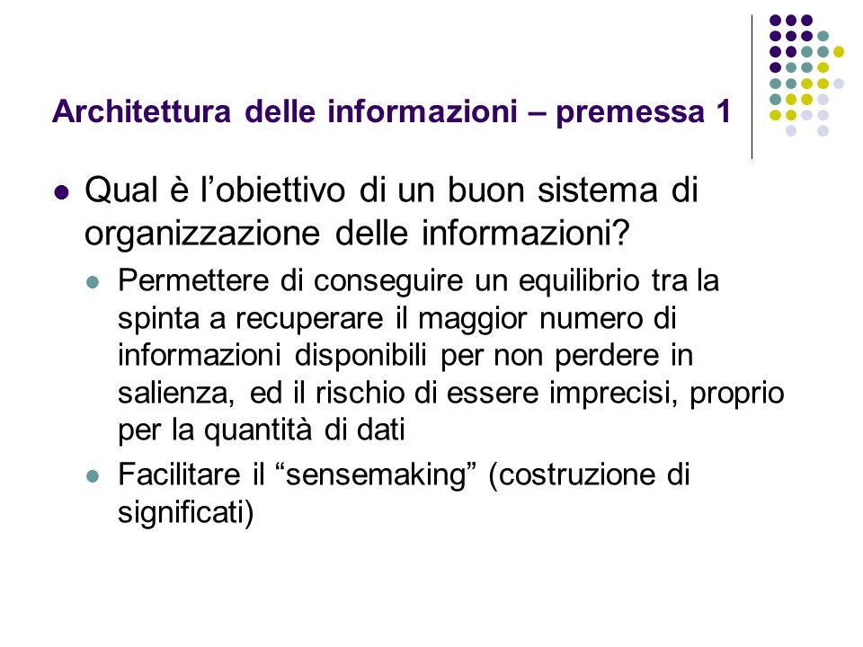 Architettura delle informazioni – premessa 1