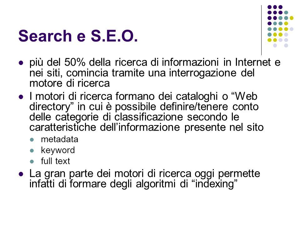 Search e S.E.O. più del 50% della ricerca di informazioni in Internet e nei siti, comincia tramite una interrogazione del motore di ricerca.