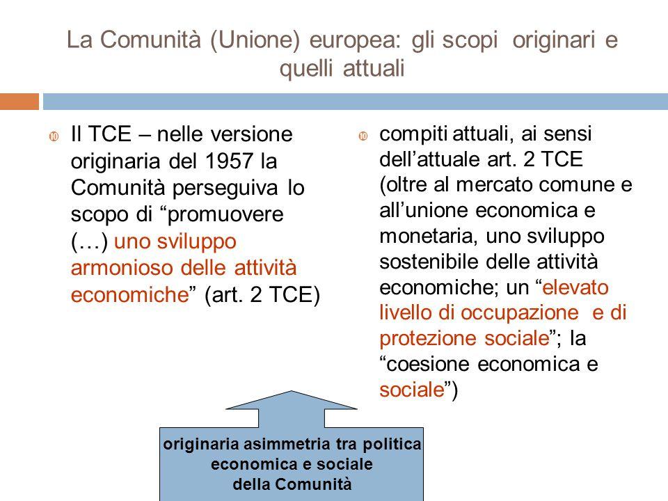 La Comunità (Unione) europea: gli scopi originari e quelli attuali