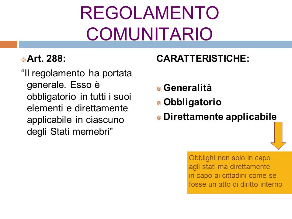 REGOLAMENTO COMUNITARIO