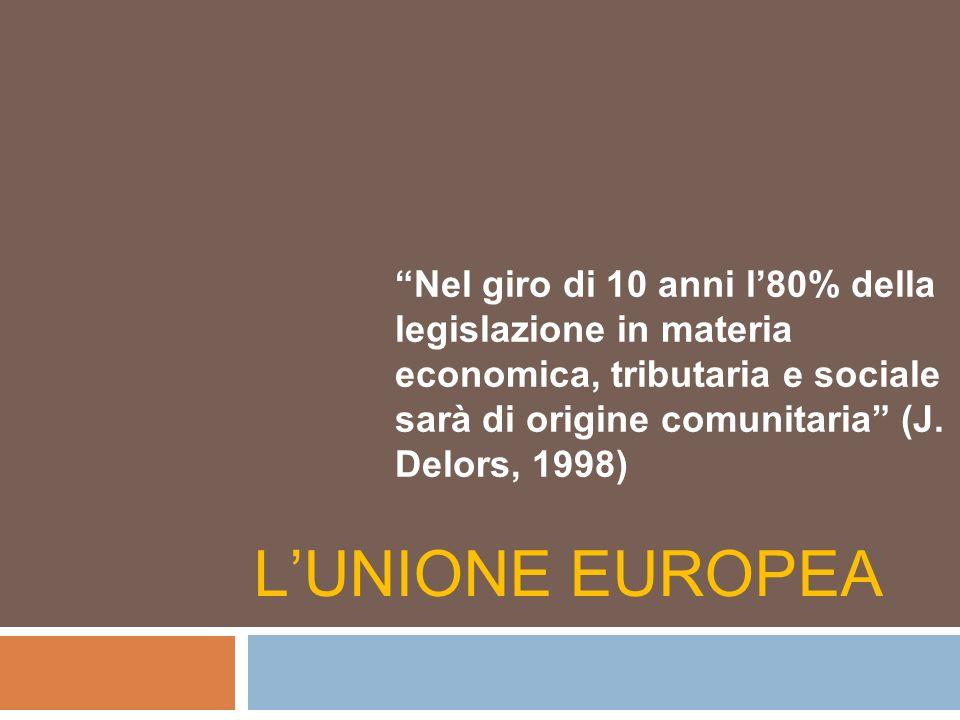 Nel giro di 10 anni l'80% della legislazione in materia economica, tributaria e sociale sarà di origine comunitaria (J. Delors, 1998)