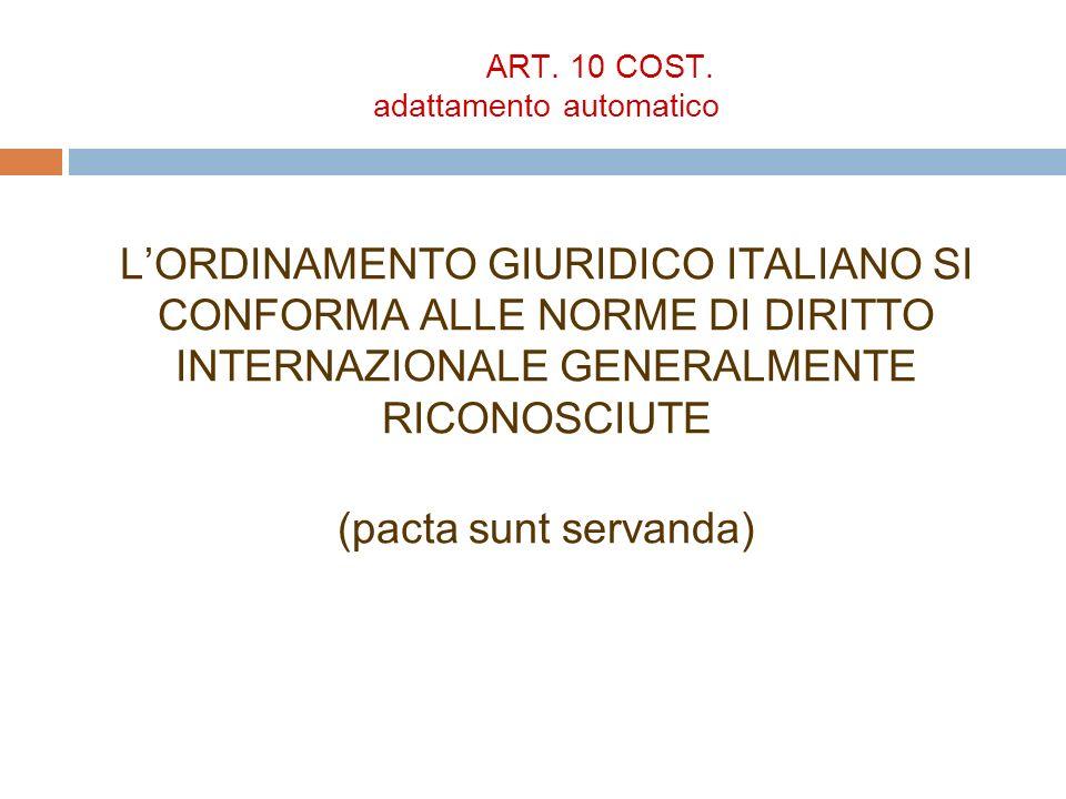 ART. 10 COST. adattamento automatico