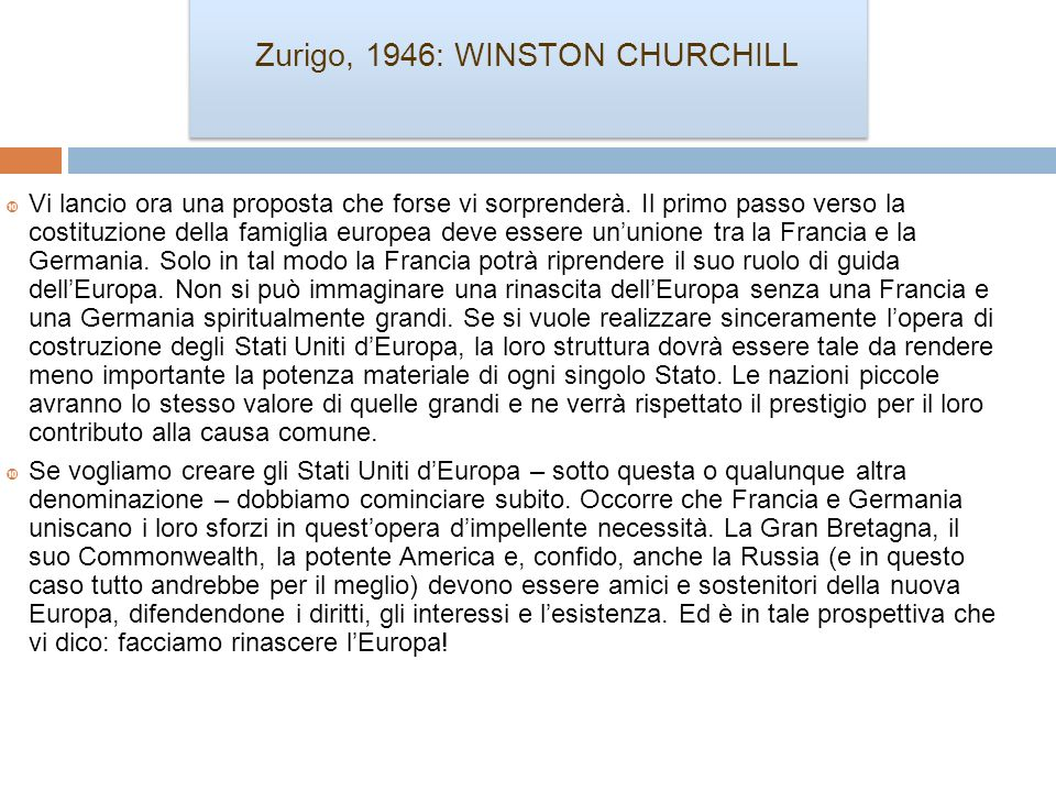Zurigo, 1946: WINSTON CHURCHILL
