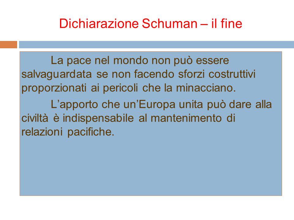 Dichiarazione Schuman – il fine