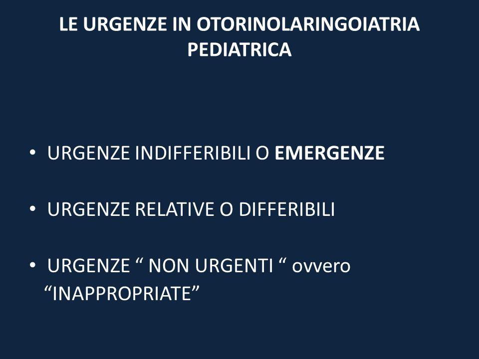 LE URGENZE IN OTORINOLARINGOIATRIA PEDIATRICA