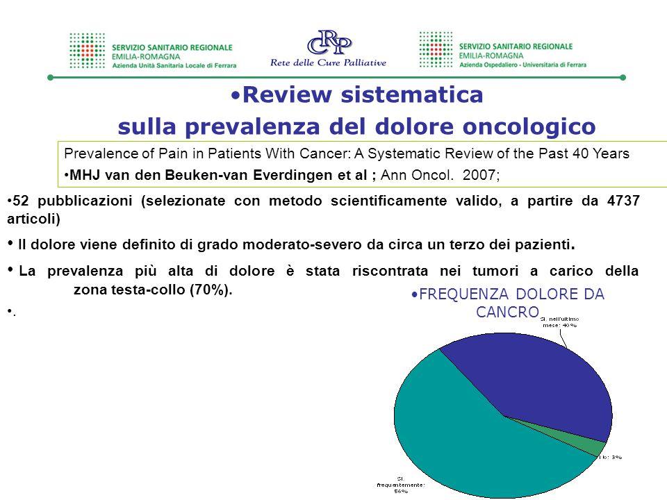 sulla prevalenza del dolore oncologico