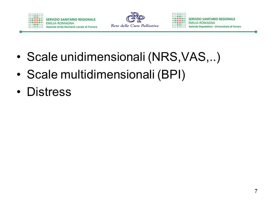 Scale unidimensionali (NRS,VAS,..)