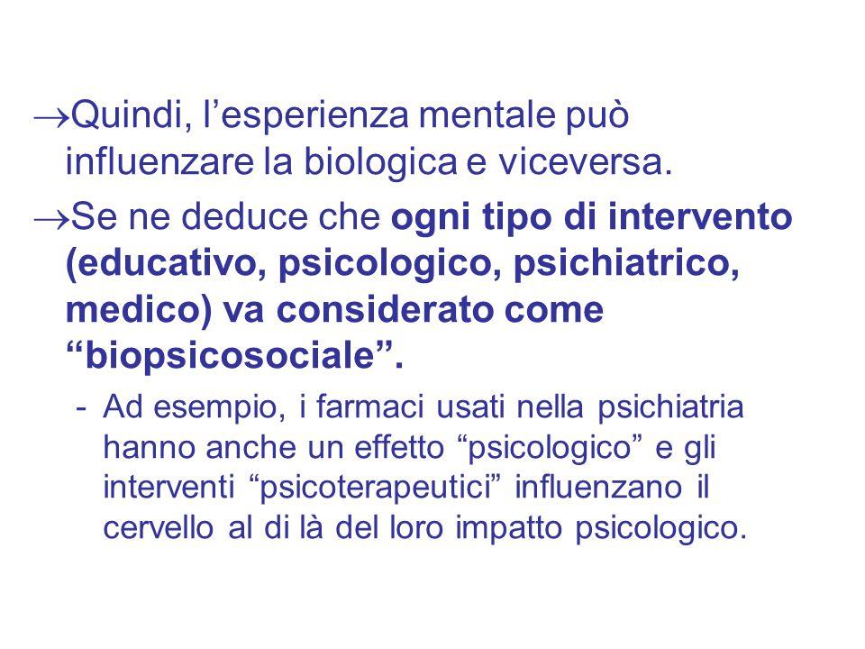 Quindi, l'esperienza mentale può influenzare la biologica e viceversa.