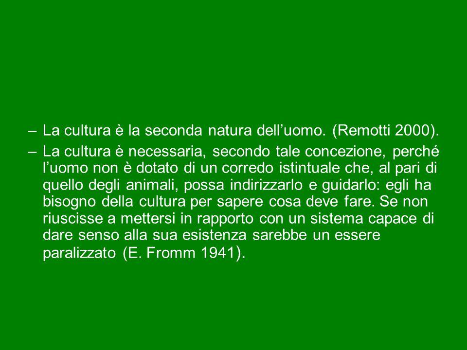La cultura è la seconda natura dell'uomo. (Remotti 2000).