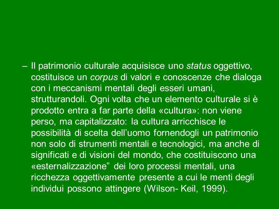 Il patrimonio culturale acquisisce uno status oggettivo, costituisce un corpus di valori e conoscenze che dialoga con i meccanismi mentali degli esseri umani, strutturandoli.