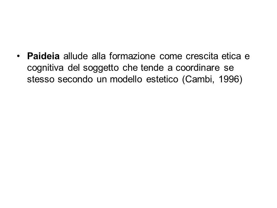 Paideia allude alla formazione come crescita etica e cognitiva del soggetto che tende a coordinare se stesso secondo un modello estetico (Cambi, 1996)