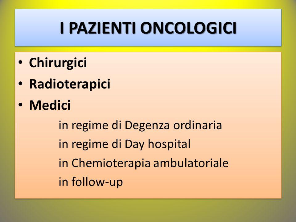 I PAZIENTI ONCOLOGICI Chirurgici Radioterapici Medici