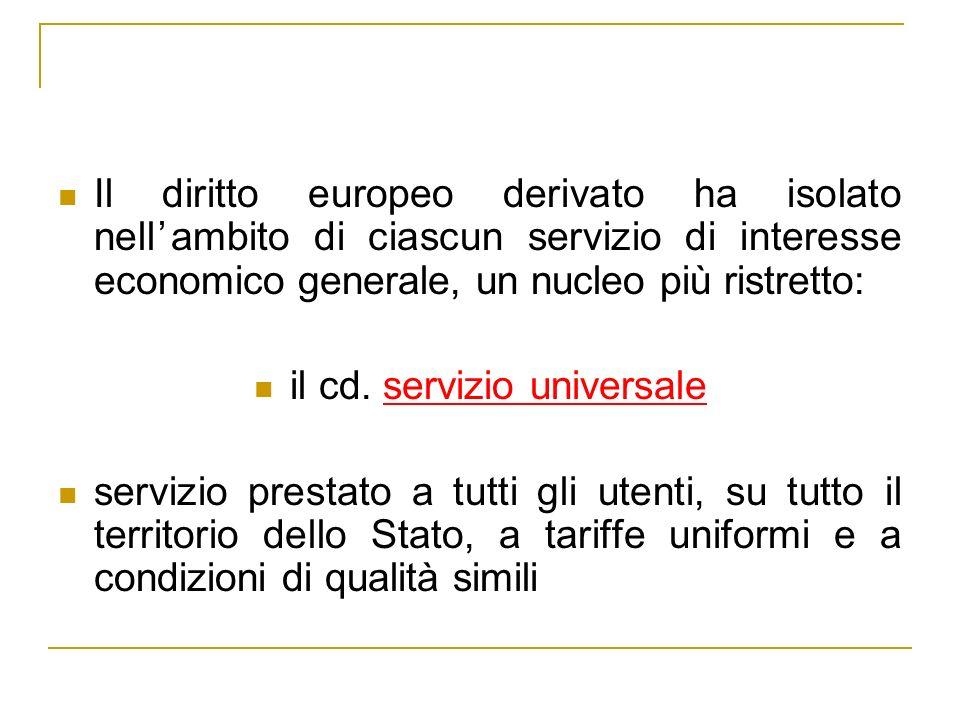 il cd. servizio universale