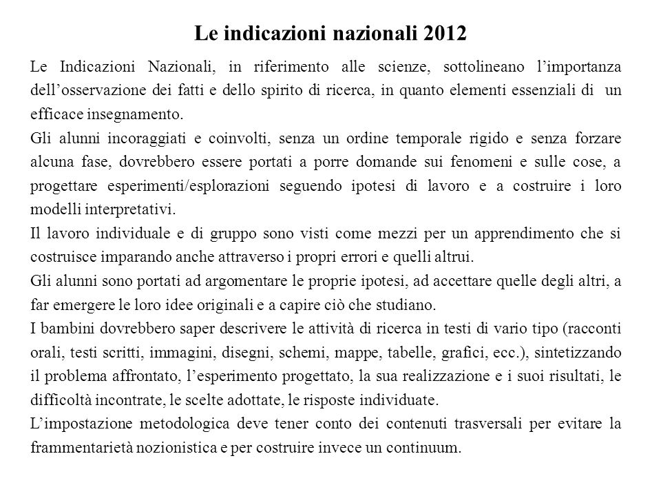 Le indicazioni nazionali 2012