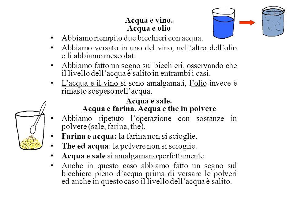 Acqua e vino. Acqua e olio Abbiamo riempito due bicchieri con acqua.