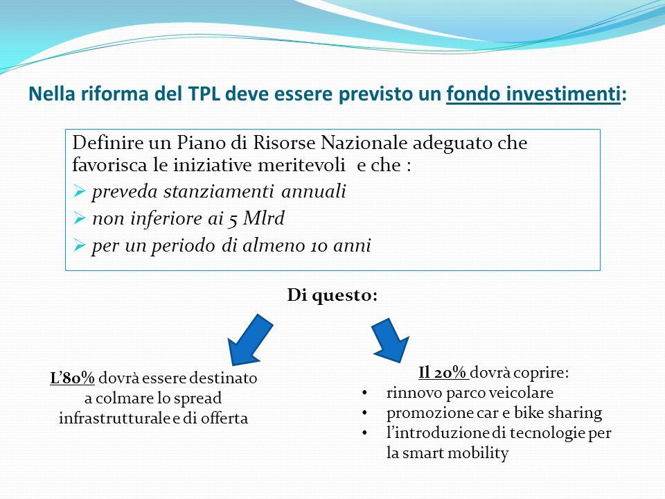 Nella riforma del TPL deve essere previsto un fondo investimenti: