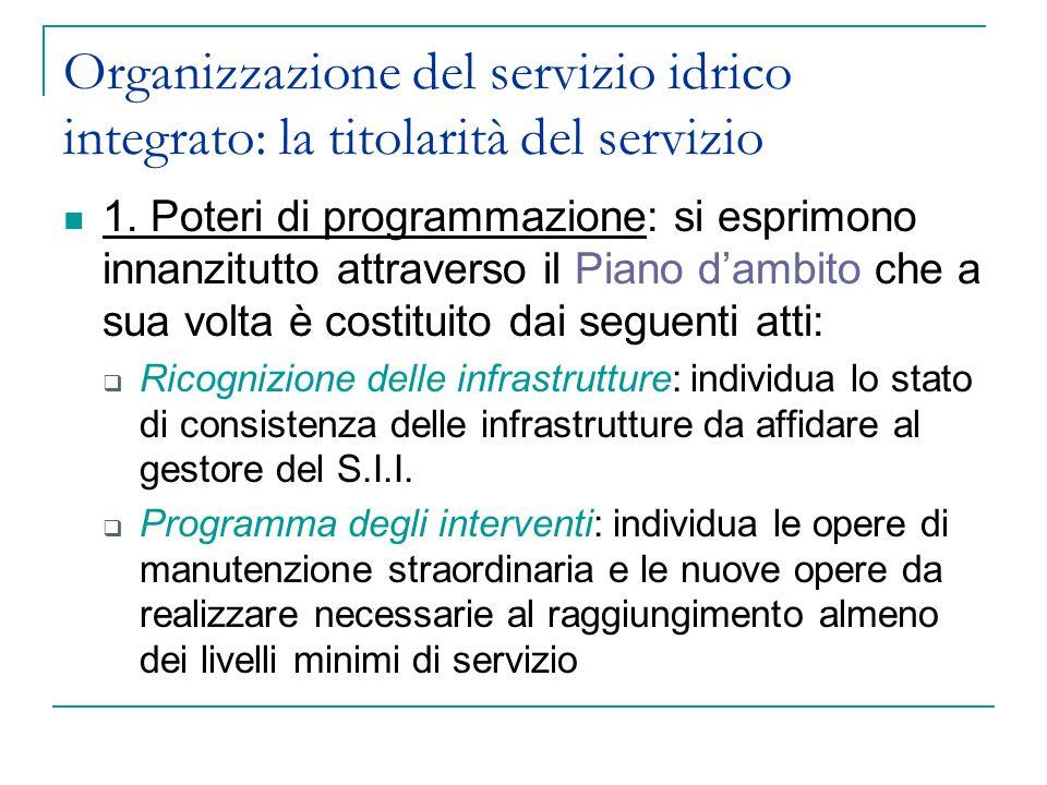Organizzazione del servizio idrico integrato: la titolarità del servizio