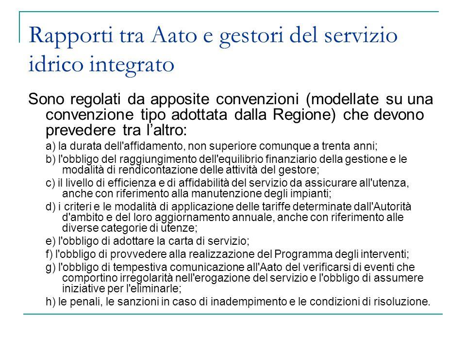 Rapporti tra Aato e gestori del servizio idrico integrato