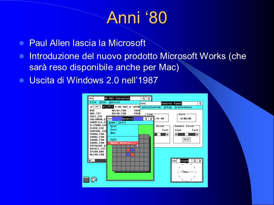 Anni '80 Paul Allen lascia la Microsoft