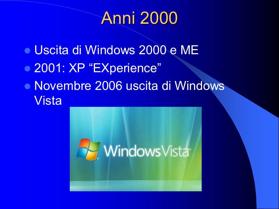 Anni 2000 Uscita di Windows 2000 e ME 2001: XP EXperience