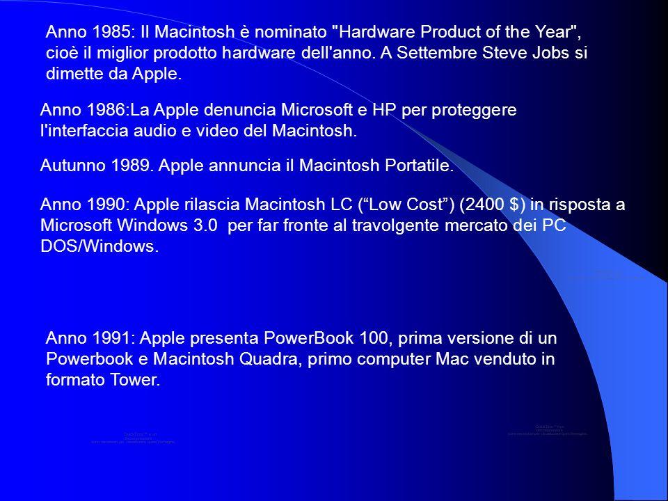 Anno 1985: Il Macintosh è nominato Hardware Product of the Year , cioè il miglior prodotto hardware dell anno. A Settembre Steve Jobs si dimette da Apple.