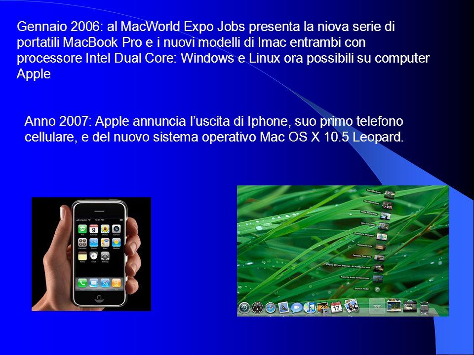 Gennaio 2006: al MacWorld Expo Jobs presenta la niova serie di portatili MacBook Pro e i nuovi modelli di Imac entrambi con processore Intel Dual Core: Windows e Linux ora possibili su computer Apple