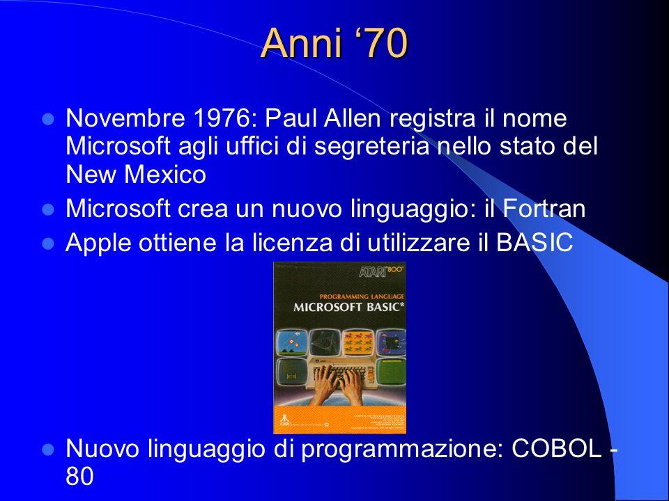 Anni '70 Novembre 1976: Paul Allen registra il nome Microsoft agli uffici di segreteria nello stato del New Mexico.