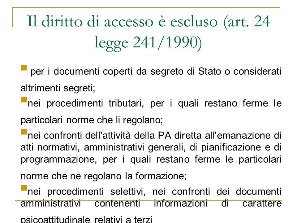 Il diritto di accesso è escluso (art. 24 legge 241/1990)