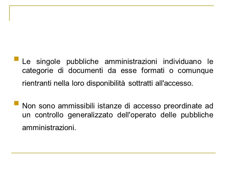 Le singole pubbliche amministrazioni individuano le categorie di documenti da esse formati o comunque rientranti nella loro disponibilità sottratti all accesso.