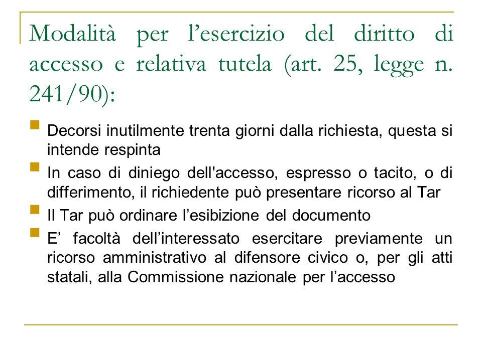 Modalità per l'esercizio del diritto di accesso e relativa tutela (art