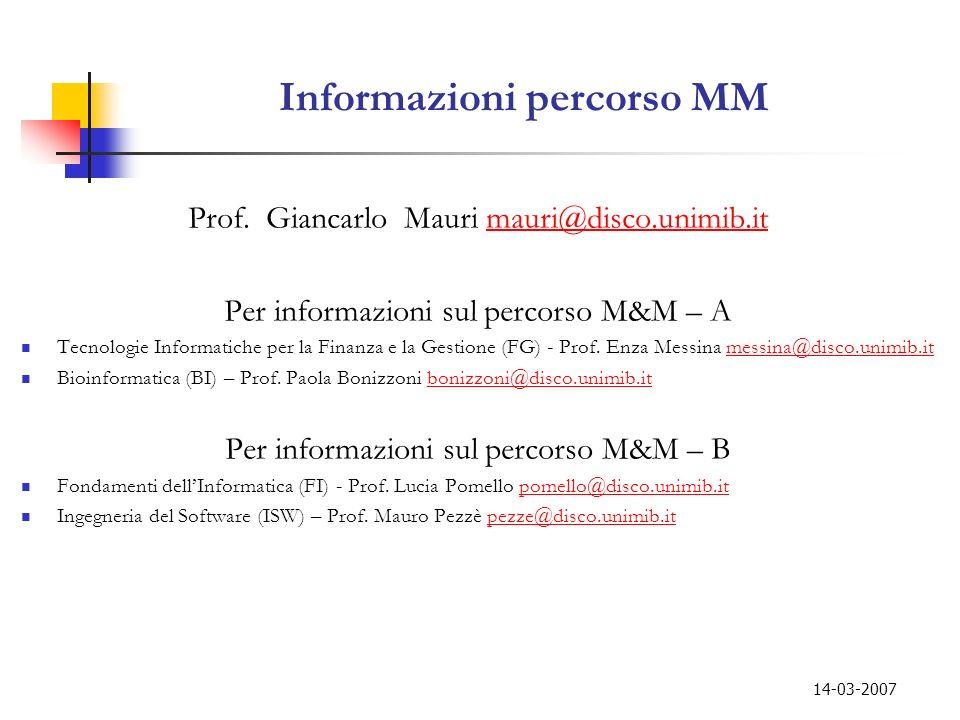 Informazioni percorso MM