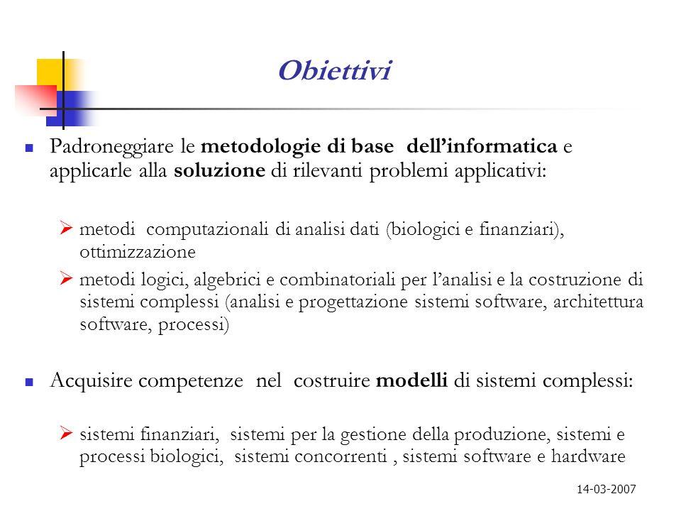 Obiettivi Padroneggiare le metodologie di base dell'informatica e applicarle alla soluzione di rilevanti problemi applicativi: