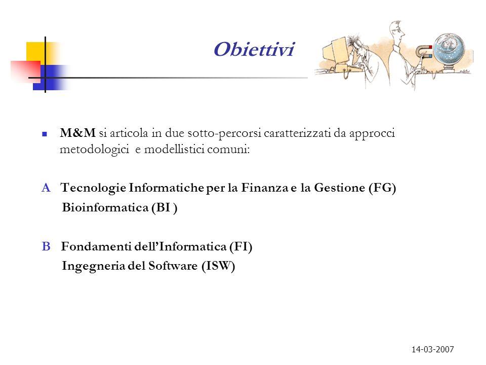 Obiettivi M&M si articola in due sotto-percorsi caratterizzati da approcci metodologici e modellistici comuni: