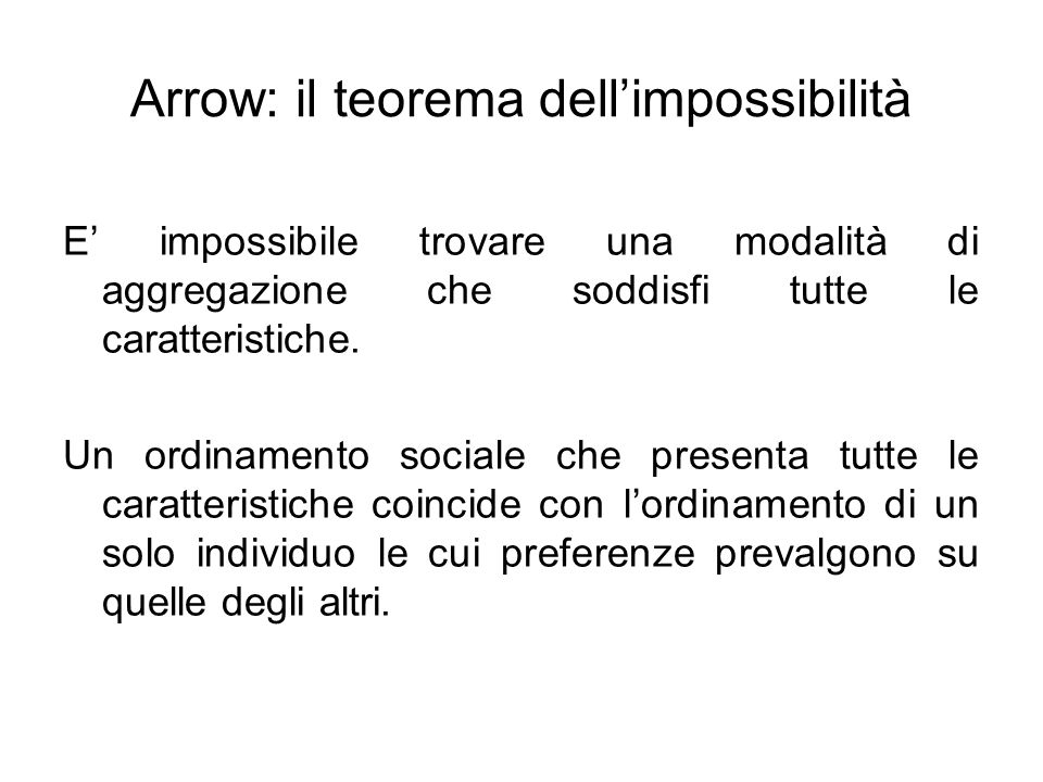 Arrow: il teorema dell'impossibilità