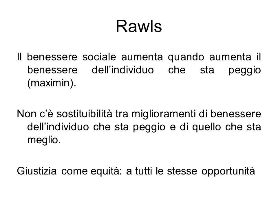 Rawls Il benessere sociale aumenta quando aumenta il benessere dell'individuo che sta peggio (maximin).