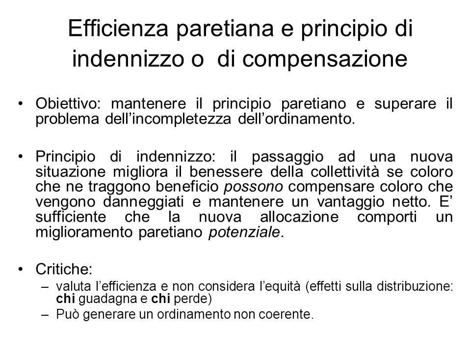 Efficienza paretiana e principio di indennizzo o di compensazione