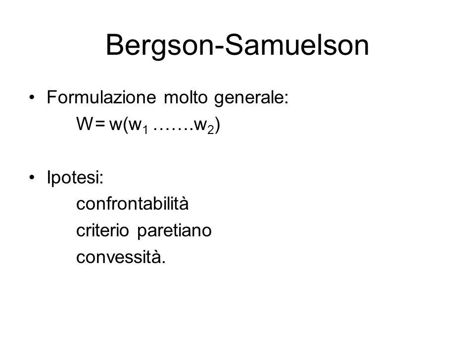 Bergson-Samuelson Formulazione molto generale: W= w(w1 …….w2) Ipotesi: