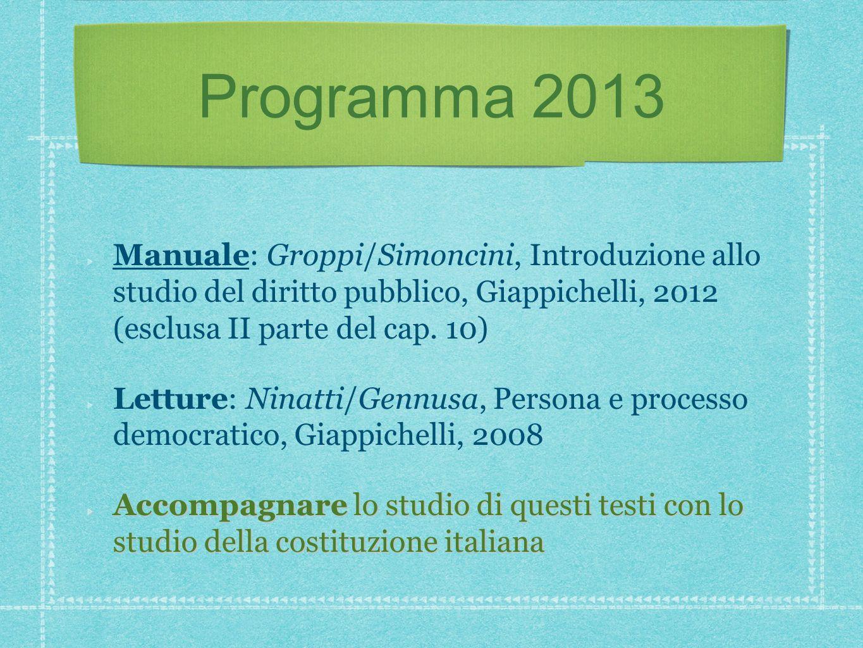 Programma 2013 Manuale: Groppi/Simoncini, Introduzione allo studio del diritto pubblico, Giappichelli, 2012 (esclusa II parte del cap. 10)
