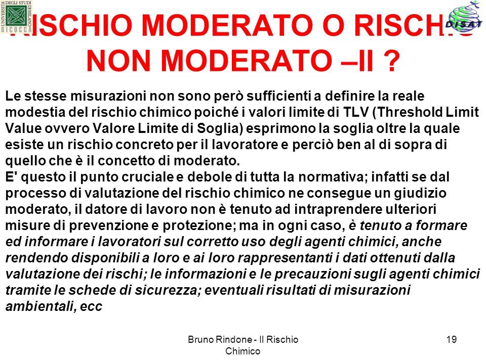 RISCHIO MODERATO O RISCHIO NON MODERATO –II