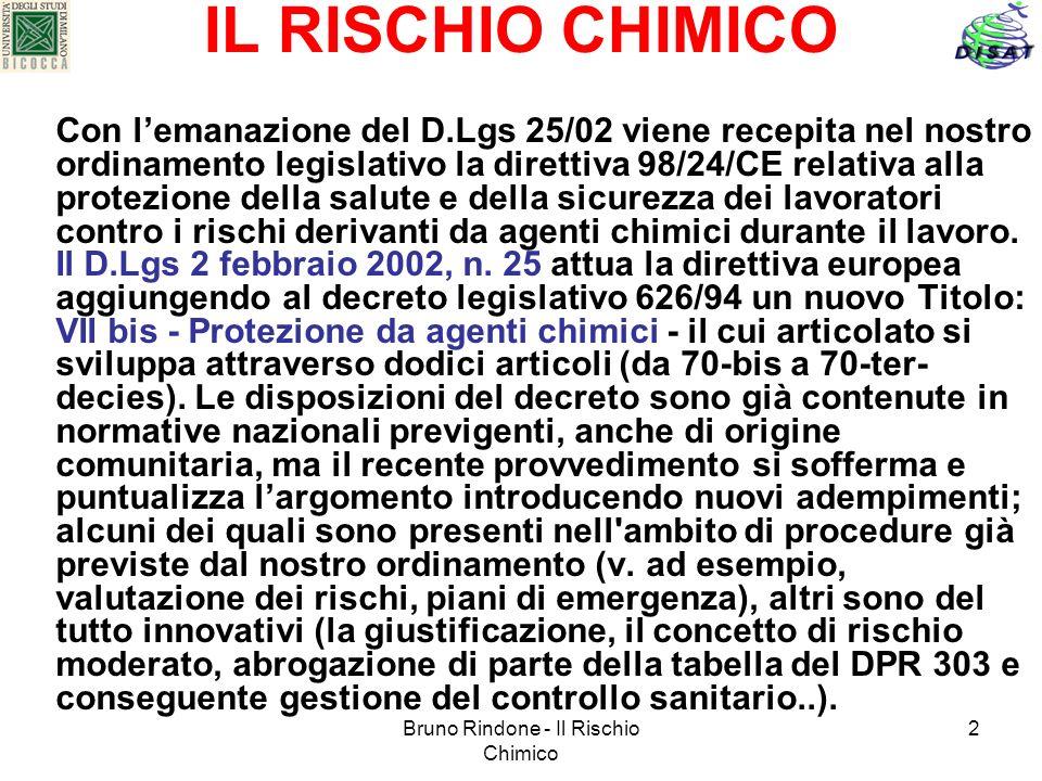 Bruno Rindone - Il Rischio Chimico