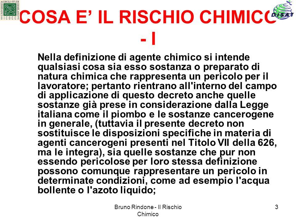 COSA E' IL RISCHIO CHIMICO - I