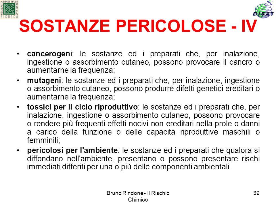 SOSTANZE PERICOLOSE - IV
